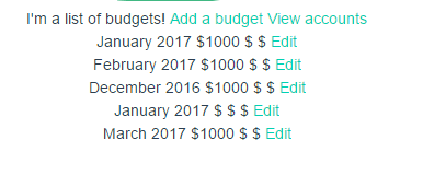 List of prettified budget dates