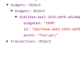 Screenshot of a naive budget object in the vuex store