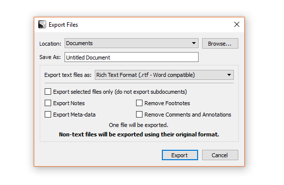 Scrivener export options